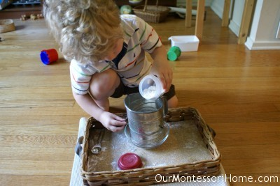 Pouring Flour Into Sifter