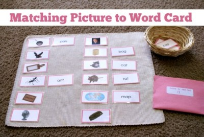 Montessori Pink Series: Matching Picture to Word Card