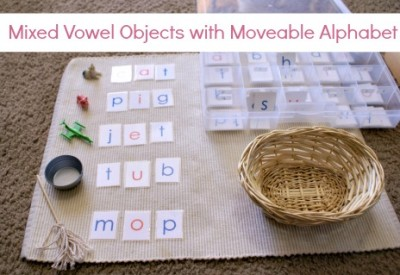 Montessori Pink Series: Mixed Vowel Objects with Moveable Alphabet