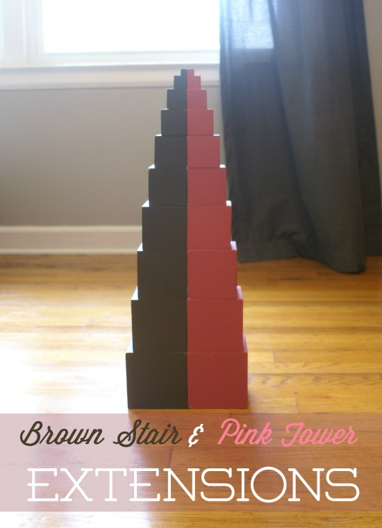Brown Stair & Pink Tower Extensions (with Free Printable Cards)