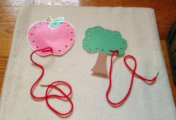 Montessori Apple Themed Activities - Apple Lacing Cards