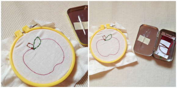 Montessori Apple Themed Activities - Apple Sewing