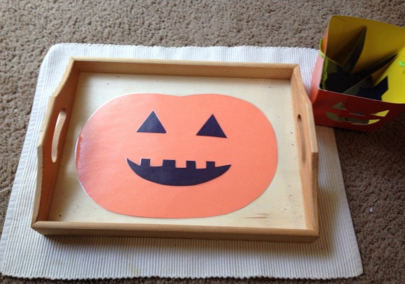 Montessori Halloween Activities - Making Jack O Lantern Faces