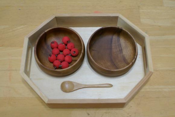 Montessori Apple Themed Activities - Spooning Apples