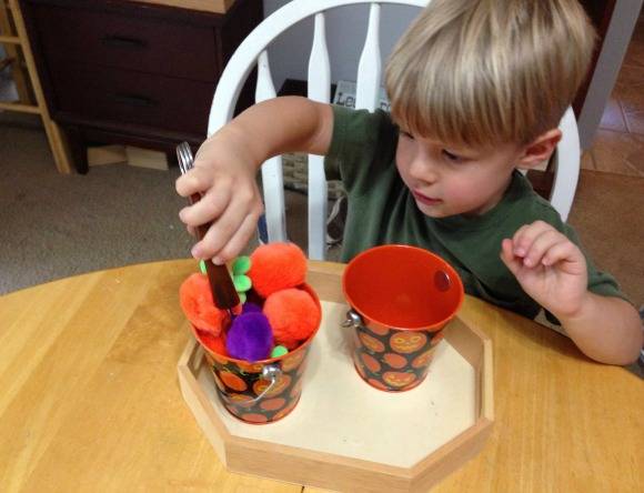 Montessori Halloween Activities - Tonging Pom Poms