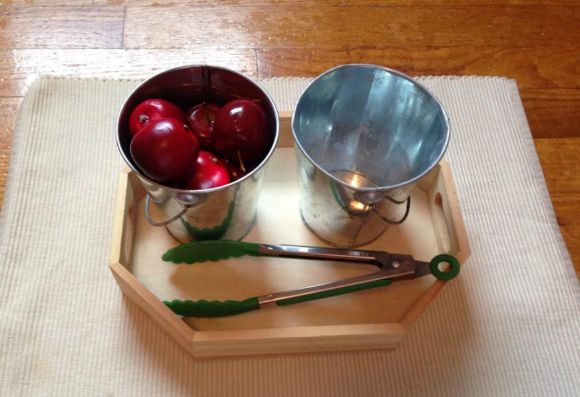 Montessori Apple Themed Activities - Transferring Apples
