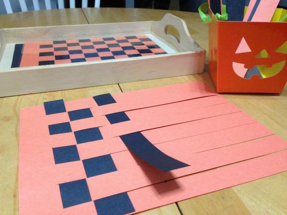Weaving a Halloween Placemat