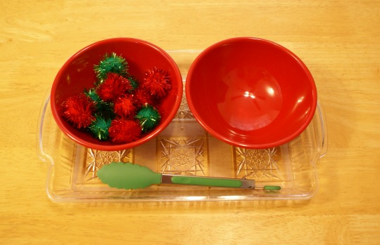 Montessori Christmas Activities for Toddlers - Tonging Pom Poms