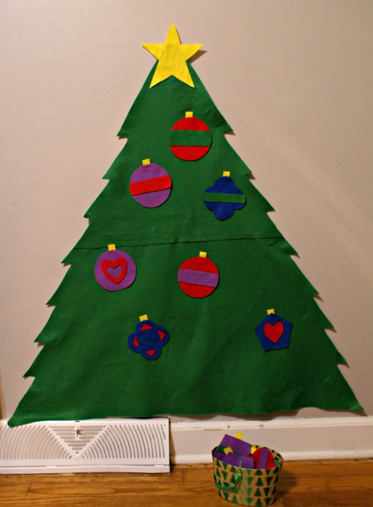 Montessori Christmas Activities for Toddlers - Decorate a Felt Tree