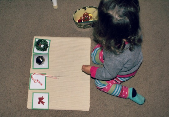 Montessori Christmas Activities for Toddlers - Matching Christmas Objects to Pictures