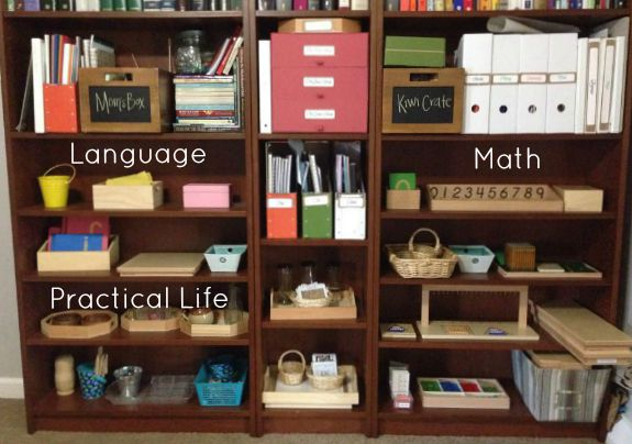 Our Montessori Home School Room Tour - Our Work Shelves