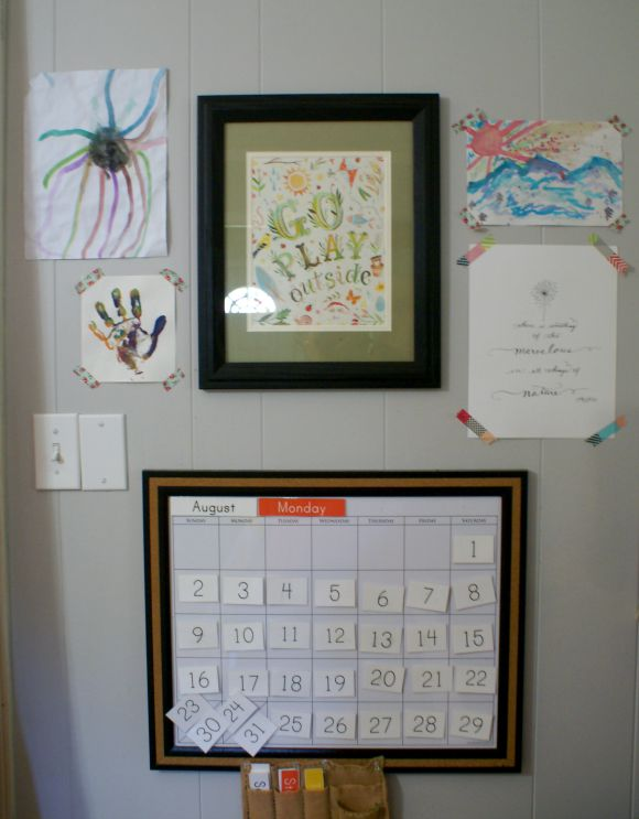 Our Montessori Home School Room Tour - Our Calendar & Art Wall