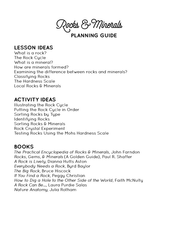 Rocks & Minerals Planning Guide